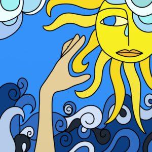 sprankelende zon die op het water schijn